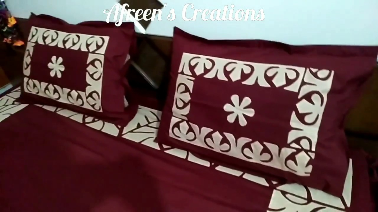 Applique work designs for bed sheets pillow cover pattern 1 youtube