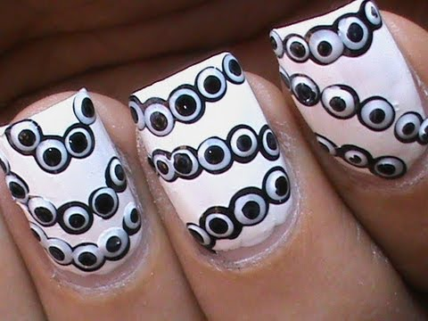 easy black white dot nail art