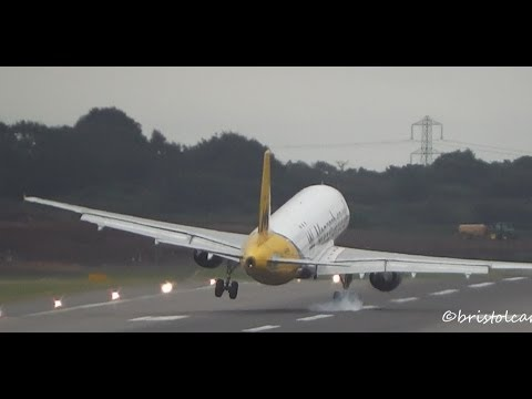 VERY BAD LANDING: Monarch Airbus A320 Strong Crosswind Arrival at Birmingham Airport (BHX-EGBB)