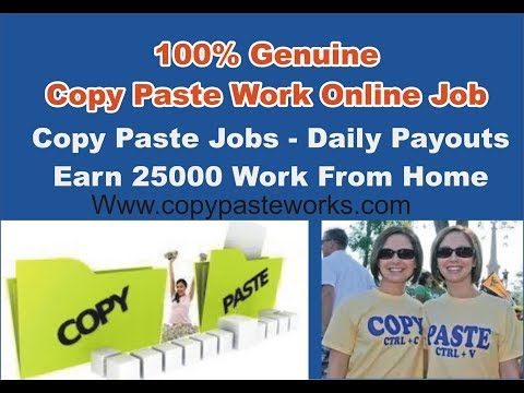 Copy Paste Jobs - Daily Payouts - 100% Genuine Copy Paste Work Online Job Earn 25000