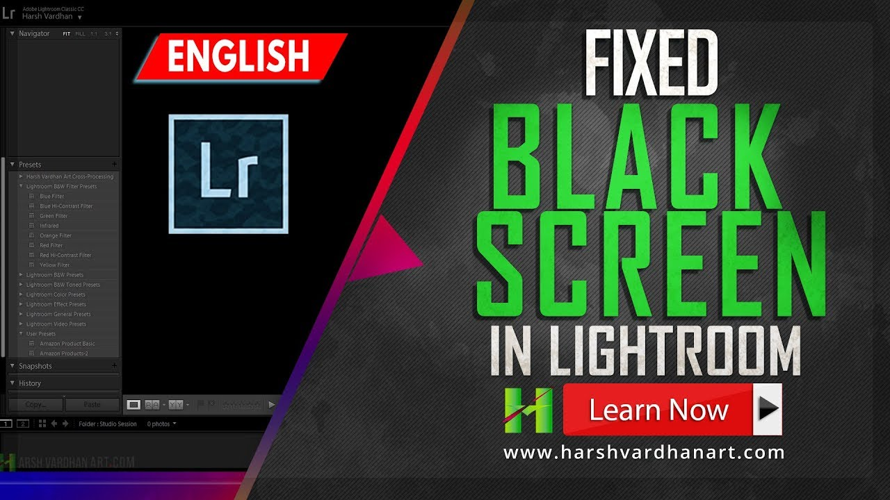 How to fix Black or Blank screen Problem in Lightroom-English