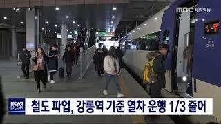 [단신] 철도 노조 파업, 강릉역 기준 열차 운행 1/…