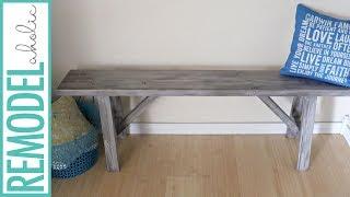 $20 Easy DIY Rustic Farmhouse Bench