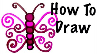 how to draw a fancy butterfly for kids drawing coloring markers art crafts doodles cards diy drawing