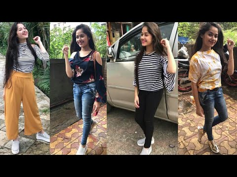 Jannat Zubair inspired college outfits ideas/jeans top style for college coaching wear. http://bit.ly/2zwnQ1x