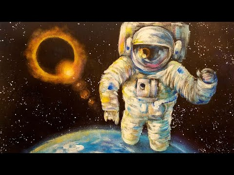 Astronaut Eclipse Outer Space Acrylic Painting Tutorial LIVE