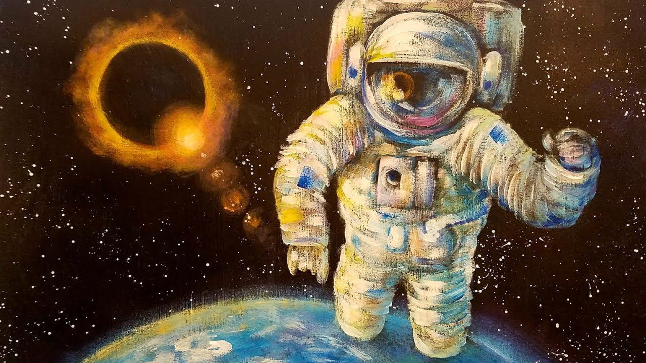 Astronaut Eclipse Outer Space Acrylic Painting Tutorial ...
