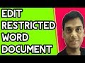 How to edit restricted Ms word file without software | Easy way to edit protected word file | Hindi