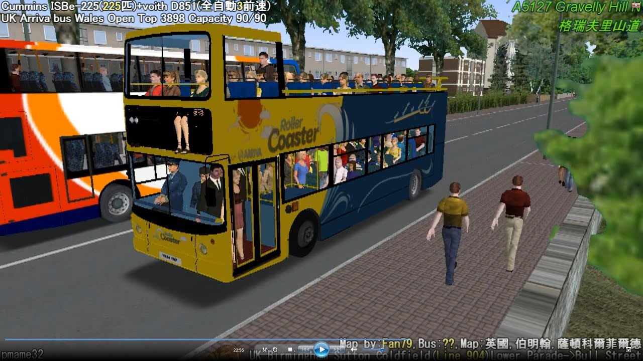 Omsi 2 tour (556) UK NXWM 904 Birmingham - Sutton Coldfield @ Scania  DB250LF open top