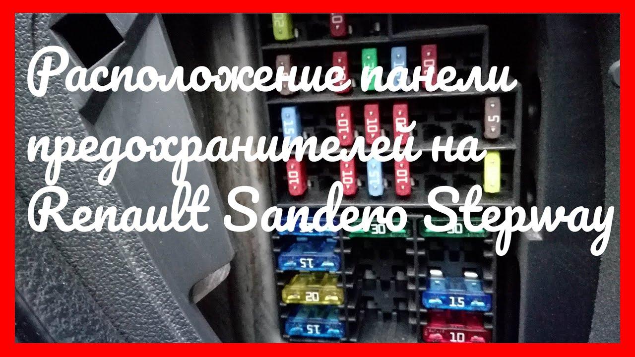 Расположение панели предохранителей на Renault Sandero Stepway