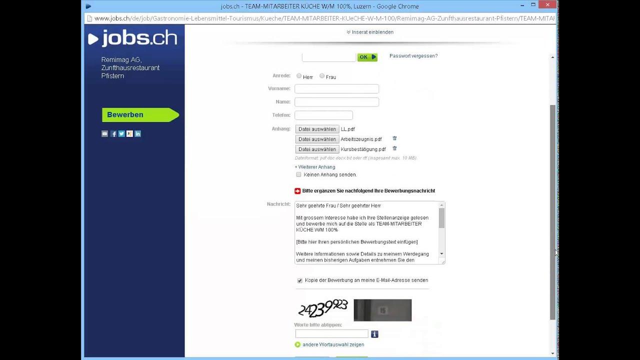 online bewerbung ben jobsch - Online Bewerbung Pdf