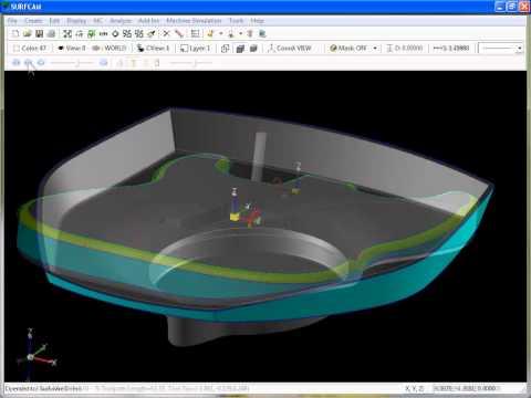 SURFCAM Tutorial - 3-Axis Multi-Cut: Spiral and Undercut