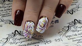 Дизайн ногтей. Цветы. Жостовская роспись. Жостово на ногтях. Простой и быстрый дизайн ногтей
