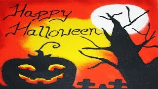 How to Draw Halloween Rangoli |Diwali Special | Exclusive by KreativeVisionFilms
