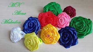 Крученые розы из разных видов лент. Канзаши.