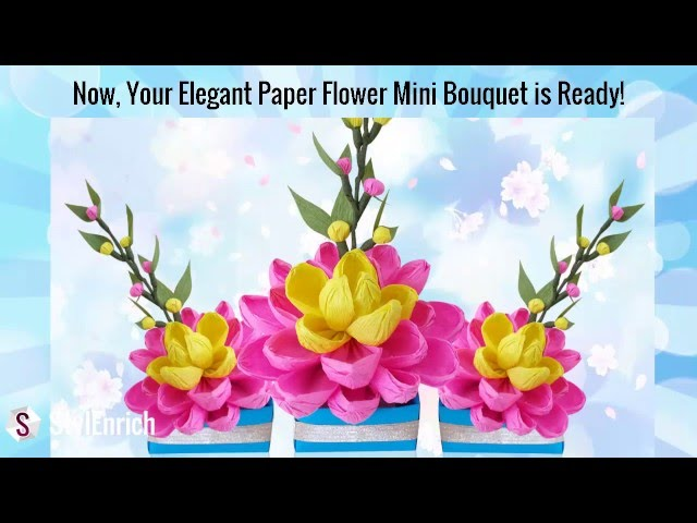 DIY Easy Paper Craft How To Make A Pretty Crepe Flower Bouquet 5 Steps