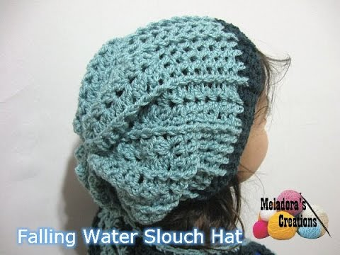 Crochet Patterns In Youtube : Falling Water Slouch Hat - Crochet Tutorial - YouTube