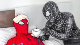 SUPERHERO in real life | Spider-Man Is Sick, And Venom Is Masterchef | Người Nhện ốm, Venom nấu cháo