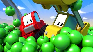 Fruits & Vegetables - Tiny Trucks for Kids with Street Vehicles Bulldozer, Excavator & Crane