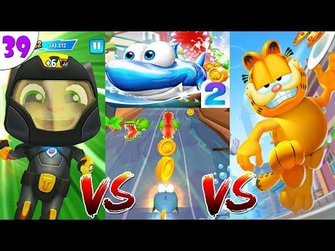 ГОВОРЯЩИЙ ТОМ ПОГОНЯ ГЕРОЕВ VS  Garfield Rush VS Run Fish Run 2 новые миссии для всех ч.39