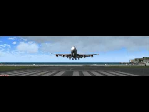 Boeing 747-400F Landing at Princess Juliana International Airport (IATA: SXM, ICAO: TNCM)