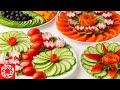5 Красивых овощных нарезок на Праздничный стол! Как красиво нарезать Овощи обычным ножом!