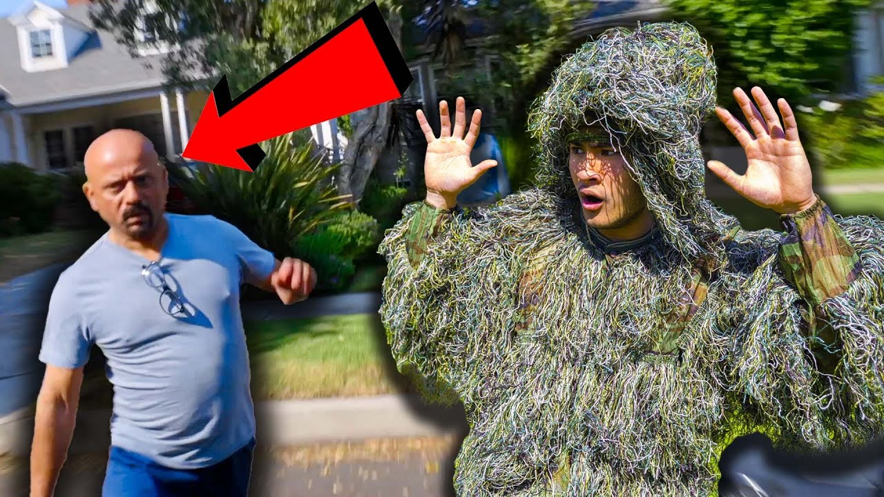 Download WE GOT CHASED BY SECURITY!!! (Ding Dong Ditch in Ghillie Suit BTS)
