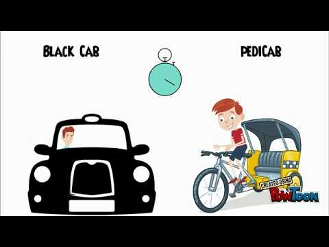 Black Cab vs Pedicab challenge from Kings Cross to Soho