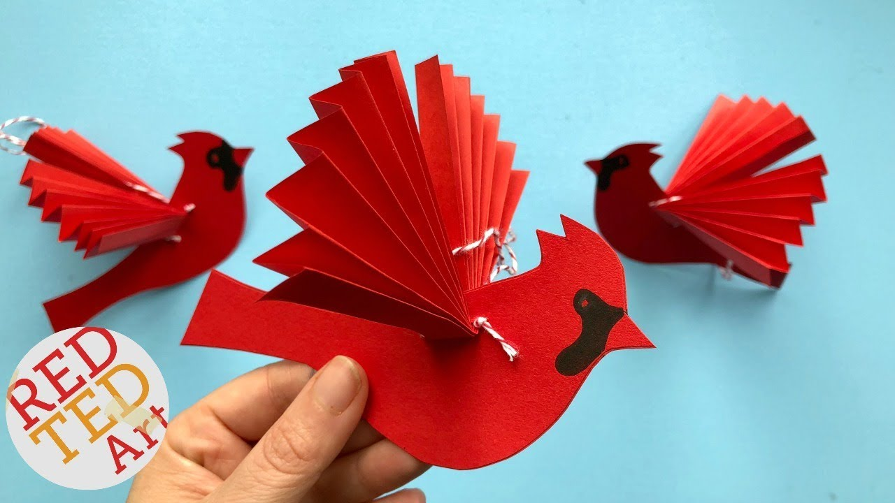 paper fan bird decoration paper cardinal ornament diy diy paper christmas ornaments red ted art - Red Cardinal Christmas Decorations