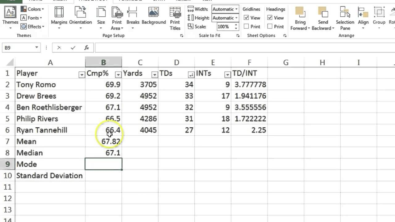 Excel Intro Football Stats