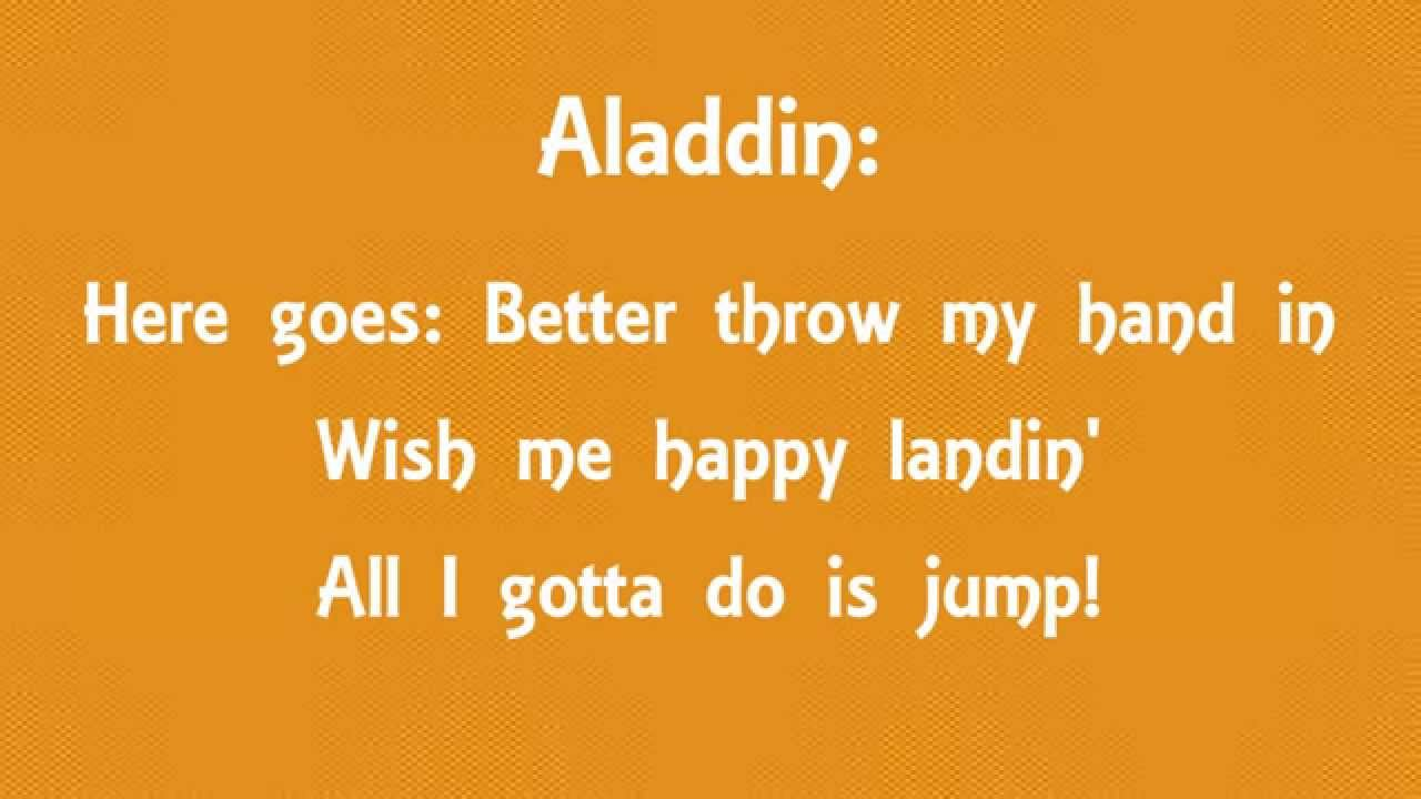 lyrics to aladdins one jump ahead lyrics from aladdin