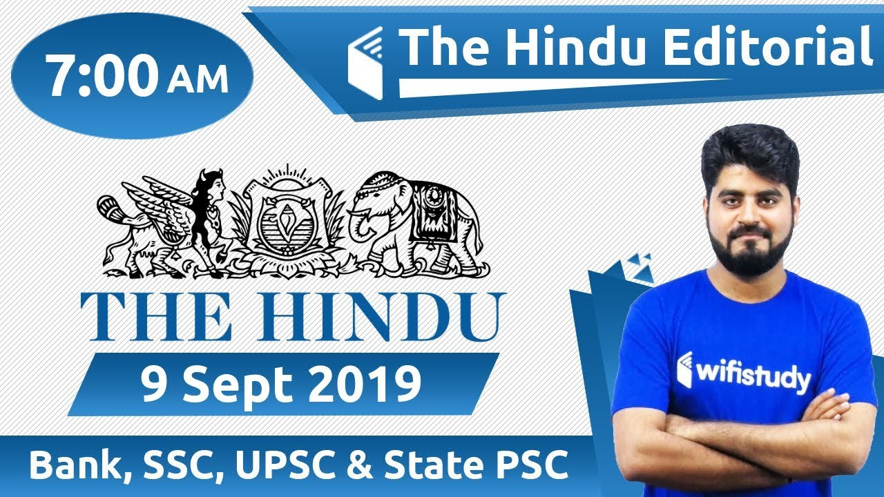 7:00 AM - The Hindu Editorial Analysis by Vishal Sir   9 Sept 2019   Bank,  SSC, UPSC & State PSC