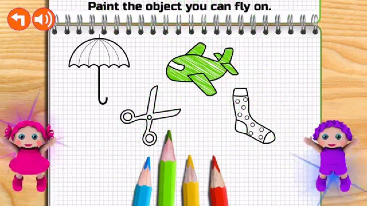 Preschool Paint And Color فيديوهات تعليمية رسم وتلوين الاشكال والاحجام للاطفال