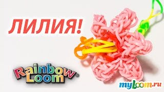 ЦВЕТОК Лилия из Rainbow Loom Bands. Урок 174 | Flower Rainbow Loom