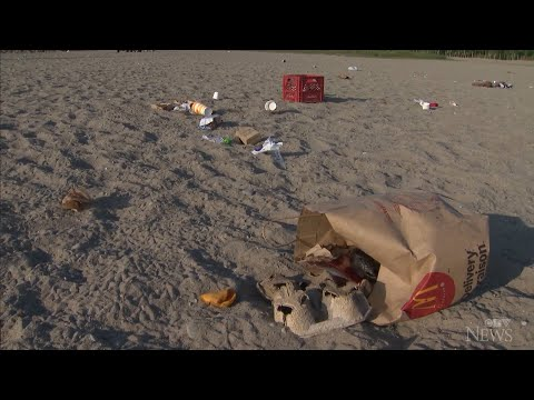 Popular Toronto beach littered by partygoers
