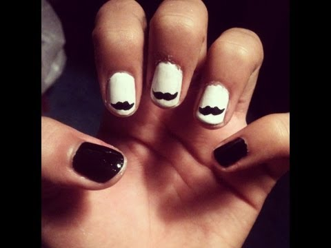 How To Do A Mustache Nail Design In Black White Youtube