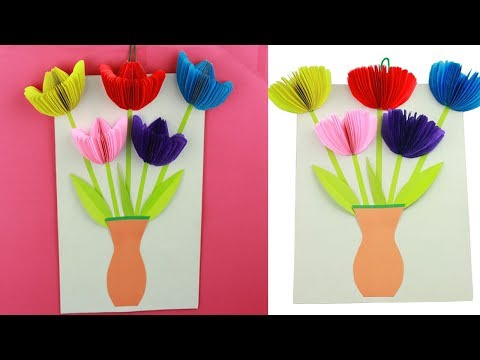 How to Make Crepe Paper Flowers|3D Doodles Paper Flowers Tulips |Easy Paper Tulip Origami Flowers