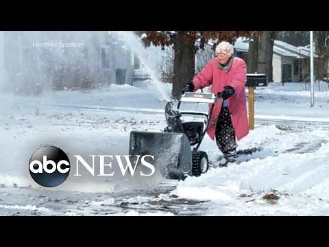 Corey Calhoun - Get It Done Grandma! 82 Year Old Woman Using Snow Blower!