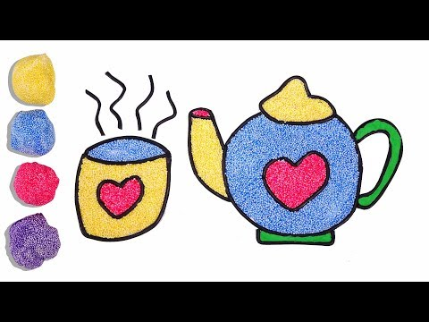 Learn Colors Coloring Teapot with Foam clay for Kids, Clay Drawing Teapot   Heart Toy Art