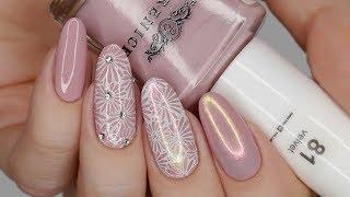 Нежный весенний дизайн ногтей Втирка на обычный лак Стемпинг