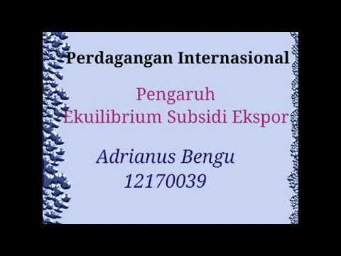 Pengaruh Ekuilibrium Subsidi Ekspor
