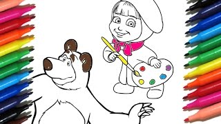 Coloring Pages MASHA AND THE BEAR How To Paint Masha I Medved - Color Toys For Kids