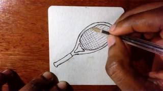 How To Draw a Cartoon Tennis Racket
