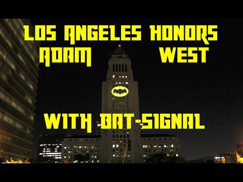 Adam West honored with Bat-Signal in Los Angeles