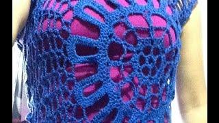 Repeat youtube video Blusa de medio circulo pt  1 de 2 a crochet - fácil y rápido!
