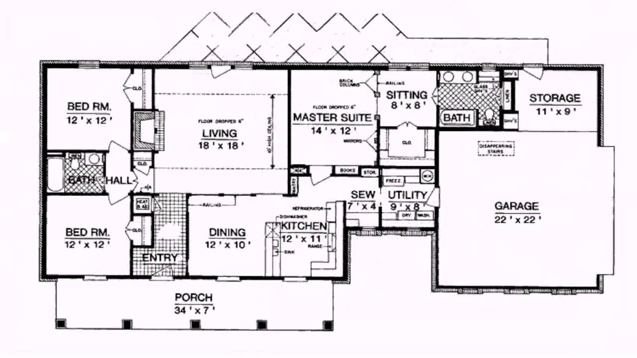 Ranch Style House Plans 1800 Square Feet YouTube – Floor Plans For Ranch Style Houses