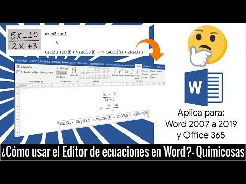 ¿Cómo utilizar el Editor de ecuaciones de Word en Química?