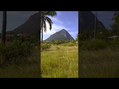 Land for sale in Choiseul Saint Lucia with backdrop of Gros Piton