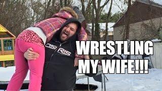 fat man wrestles wife weirdo put through a table backyard wrestling match