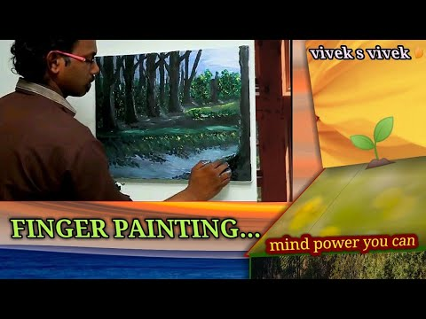 Amazing Finger painting in canvas natural art, oil paint ( power of our mind)